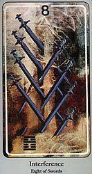 Eight of Swords, The Haindl Tarot (Interference): Interference. Help or advice. Eight, Swords, Gossip, Tarot, Astrology, Advice, Tips, Sword, Tarot Cards