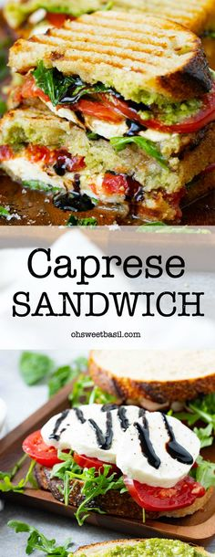 This balsamic glazed caprese sandwich is packed with the flavor of fresh tomatoes, arugula and fresh mozzarella. The best panini ever! Caprese Sandwich Recipe, Veggie Sandwich, Grilled Sandwich, Veggie Wraps, Caprese Panini, Tomato Sandwich, Veggie Food, Panini Sandwiches, Healthy Sandwiches