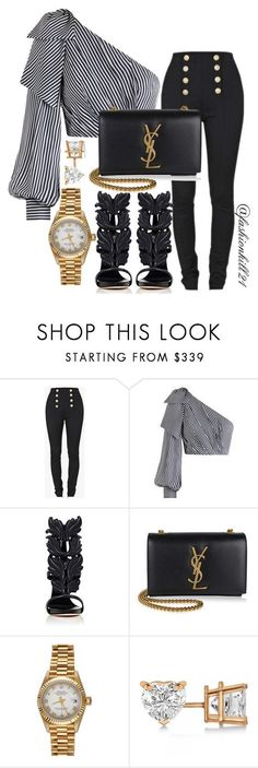 """Untitled #1438"" by fashionkill21 ❤ liked on Polyvore featuring Balmain, Zimmermann, Giuseppe Zanotti, Yves Saint Laurent, Rolex and Allurez"