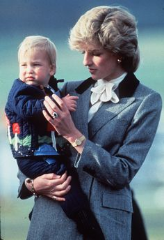 Princess Diana's Sweetest Mum Moments .. Princess Diana carried baby Prince William while in Aberdeen, Scotland, in October 1983.
