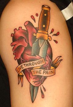 """Live Through The Pain"" tattoo anatomical heart"