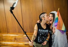 Natalie Novoa (L) and Eddie Daniels (R) take a selfie while waiting to get married at the L.A. County Registrar office on June 26, 2015 in Beverly Hills, California. The couple have been together for the past 11 years and have been waiting to wed.     -    © Marcus Yam/Los Angeles Times/Getty Images