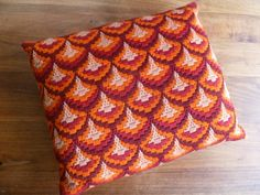 Retro Teardrop  hand embroidered 70's cushion by TrackofTime, €17.50