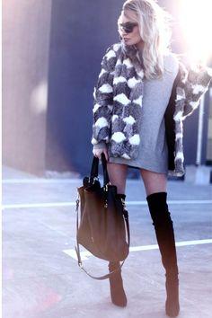 charcoal gray vintage coat - black Casadei boots - black Musette bag