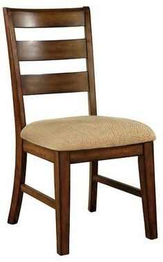 Furniture of America Sun & Pine Ladder Back Fabric Padded Side Chair Wood/Antique Oak (Set of Ladder Back Dining Chairs, Wooden Dining Chairs, Side Chairs, Dining Chair Set, Plywood Furniture, New Furniture, America Furniture, Chair Design Wooden, Beautiful Dining Rooms