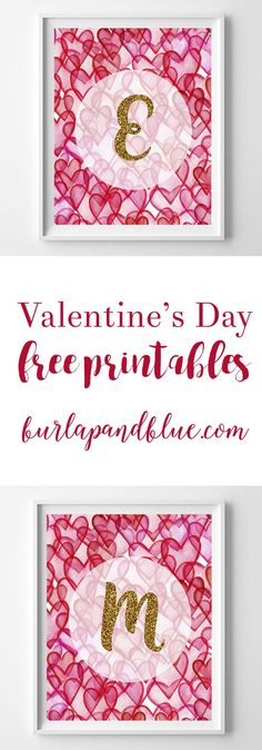 Valentine's Day free printable initials--hearts and gold glitter wall art printable.