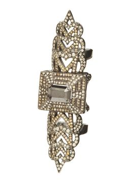 #BG111 Loree Rodkin's 18-karat blackened white gold ring with 5-karat black diamond centerpiece and gray and brown pave diamond accents.  As seen in @WWD. For more details, call 212 753 7300.