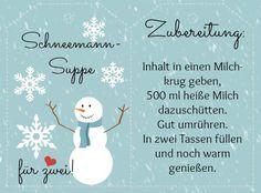 Etikett Schneemannsuppe - heiße Trinkschokolade - plus Rezept und Verpackungsidee