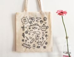 Tote bag Girly doodles / Tote bag en coton by Charlottetheteapot
