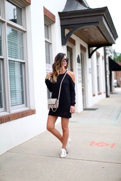 The perfectly chic sweater mini dress with cold shoulder detail via For All Things Lovely For All Things Lovely, Lovely Dresses, Female Fashion, Womens Fashion, Spring Fashion, Winter Outfits, Chloe, Golden Goose, Sweatshirts