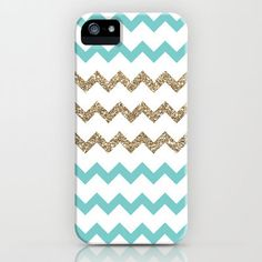 (3) Blue and Gold Glitter Chevrons iPhone Case by PrintableWisdom   Society6 on Wanelo