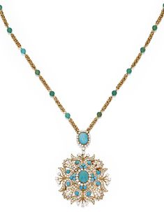 18 KARAT GOLD, TURQUOISE AND DIAMOND PENDANT-BROOCH AND CHAIN, VAN CLEEF & ARPELS