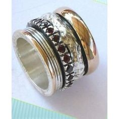 Women garnets wide band spinner ring silver gold sizes - Bluenoemi - My Sterling Silver Jewelry Wholesale Silver Jewelry, Gold Jewelry, Tiffany Jewelry, Meditation Rings, Gold And Silver Rings, Spinner Rings, Stylish Rings, Garnet Rings, Gold Set
