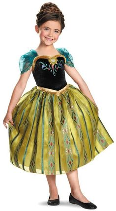 costumes disneys frozen dlx princess anna coronation costume set medium 7 8 halloween costumes for girlstoddler