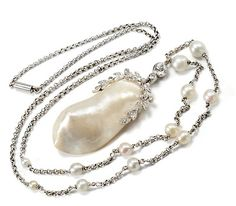 Classic Edwardian Pearl Diamond Pendant Necklace - The Three Graces
