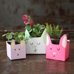 Make these adorable bunny planters out of milk cartons and tetra-paks. Such a simple and cheerful update for spring!