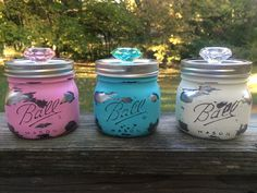 Mason jar canister set-3 hand painted squatty pint size Ball jar storage containers in pastel colors distressed to reveal chrome interior by AmericanaGloriana on Etsy https://www.etsy.com/listing/251933210/mason-jar-canister-set-3-hand-painted