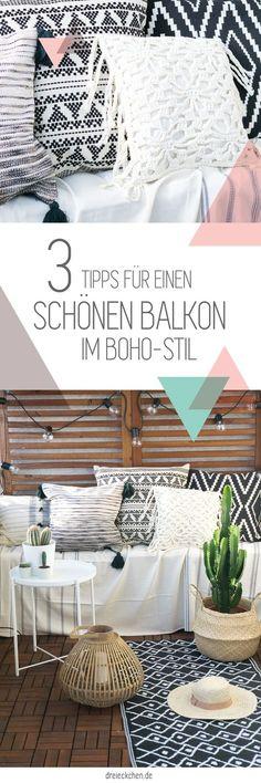 Schöne Ideen für's Balkon Interieur mit Lichterketten, Bommel-Kissen, Bambus-Windlichtern, Outdoor-Teppich und Kakteen für den angesagten Boho-Trend