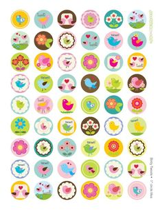 """Birds and Tweets 1"""" squares Digital Collage Images for Tiles, Buttons, Magnets, Pendants, Pins INSTA Bottle Cap Projects, Bottle Cap Crafts, Hama Beads Minecraft, Perler Beads, Bird Birthday Parties, Babysitting Activities, Religious Images, Bottle Cap Images, Resin Crafts"""