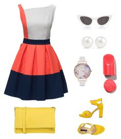 """""""Yellow shoes outfit"""" by elena-atmatzidou on Polyvore featuring Lattori, Pelledoca, Orciani, Yves Saint Laurent, Olivia Burton and Kenneth Jay Lane"""