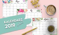 Kalendarz 2019 do druku - akwarelowe wzory Calendar, Bullet Journal, Blog, Blogging, Life Planner