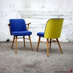 Chaise vintage des années 50/60 bleu-jaune