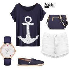 Anchor Print T-shirt by beatrizcosta96 on Polyvore featuring Miss Selfridge, TOMS, Marc Jacobs and Kate Spade