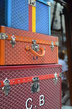 Goyard luggage..Leather goods granddaddy Goyard is handy if you're in need of a new steamer trunk. #travelcompanion