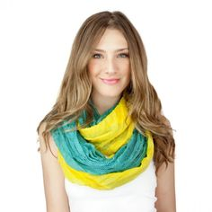 Color Block Scarf - Teal/Yellow