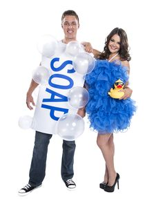 Soap and Loofah Couples Costume exclusively at Spirit Halloween - Clean up at the Halloween costume contest when you and your partner arrive in the Soap and Loofah Couples Costume. This soap tunic comes complete with loofah dress, 10 balloons and 10 adhesive squares. Bring along a rubber ducky (not included) for some extra laughs. Get this couples costume for $59.99