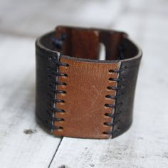 Wide Leather Cuff Bracelet with Wooden Closure by orangeandprairie