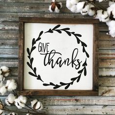 Give Thanks Wood Sign 13x13