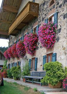 "╰⊰✿ Window boxes ✿ ""Farm in Waging am See ~ ""Old farm (about in Waging am See, Chiemgau, Bavaria, Germany (near Traunstein)"