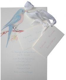 Loving the ribbon. Baby Shower invitation (Blue Bird)