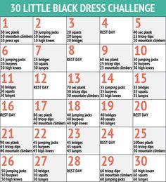 simple whole body workout one month charts | De Little Black Dress Challenge