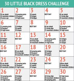 simple whole body workout one month charts | De Little Black Dress Challenge