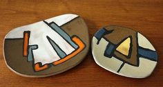 2 Modernist Guy Ouvrard Quebec Canada Pottery enamels on ceramic freeform plates Canada, Vintage Ceramic, Pottery Art, Plates, Enamels, Guys, Trendy Tree, Licence Plates, Dishes