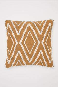 Cushion cover with a jacquard-weave front, solid colour cotton canvas back and concealed zip. Home Decor Furniture, Home Decor Items, Tela Tribal, Printed Cushions, Jacquard Weave, My New Room, Crochet Motif, Leaf Prints, Soft Furnishings