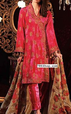 Hot Pink Velvet Corduroy Suit | Buy Charizma Pakistani Dresses and Clothing online in USA, UK