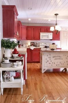 Love the red cabinets! Twice Remembered: Red Cottage / Farmhouse Style Kitchen Progress Photos and Details. Red Cottage, Rustic Kitchen, Kitchen Remodel, Cottage Kitchen, Red Kitchen, Country Kitchen, Red Cabinets, Farmhouse Style Kitchen, Rustic Kitchen Cabinets