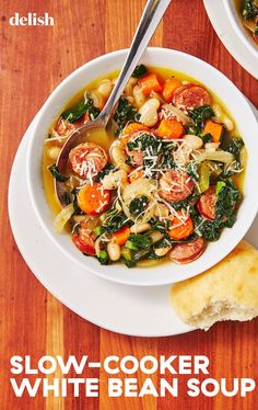 This Slow-Cooker Sausage and White Bean Soup Is Crazy EasyDelish
