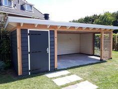Retractable And Roll-Up Canopies Give The Owner The Option Of Completely Extending The Shade During Summer Season And Rolling It Up During The Winter Season. Backyard Studio, Backyard Sheds, Backyard Patio Designs, Outdoor Sheds, Backyard Pergola, Backyard Retreat, Backyard Landscaping, Outdoor Gardens, Shed Homes