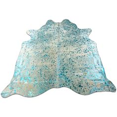 Turquoise Cowhide Rug Size 7.6 X 7.6 Xl Turquoise on Off White I-826 ($299) ❤ liked on Polyvore featuring home, rugs, floor & rugs, home & living, silver, cow skin rug, cream colored area rugs, cow leather rug, cow rug and patchwork rug