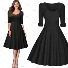 """This is a lovely vintage inspired look swing dress. Available in three color patterns: Red, Black & Blue with White Polka Dots. The dress has a square neck line, is knee length, has a back zipper, is a one piece and made from cotton nylon and spandex.     Available in US sizes 4 - 18 with the following measurements:    Small:US 4 -6, Bust Range32.3""""- 34.6"""" , Waist 26.8"""", Dress Length 39.4""""    Medium:US 8, Bust Range34.3"""" - 36.6"""", Waist 29.5"""", Dress Length 40.2""""    Large:US 10- 12…"""