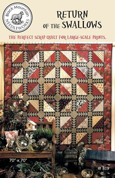Return of the Swallows--printed pattern – Black Mountain Needleworks Civil War Quilts, String Quilts, Log Cabin Quilts, Flying Geese, Quilting Projects, Quilting Ideas, Sewing Projects, Blue Quilts, Wool Applique