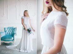 Two pieces wedding dress \ Silk lace chiffon bridal gown \ Three pieces bridal separates \ Beach boho or bohemian wedding separates