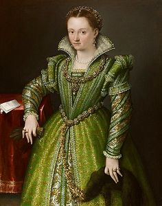Lavinia FONTANA (Bologna 1552 - Rome 1614) Portrait of Laura Gonzaga in Green Oil on canvas, 34 5/8 x 44 1/16 in. ( 88 x 112 cm)