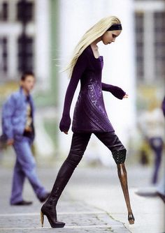 High fashion prosthetic leg. Beauty is as beauty does. And wears. And walks. And talks. ~cww