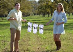 pregnancy announcement - used this idea but wrote on a pair of jeans