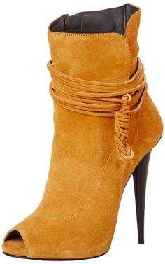 Giuseppe Zanotti Mustard Women's Peep-Toe Ankle Boots $1,250 Spring 2014 #Booties #Shoes